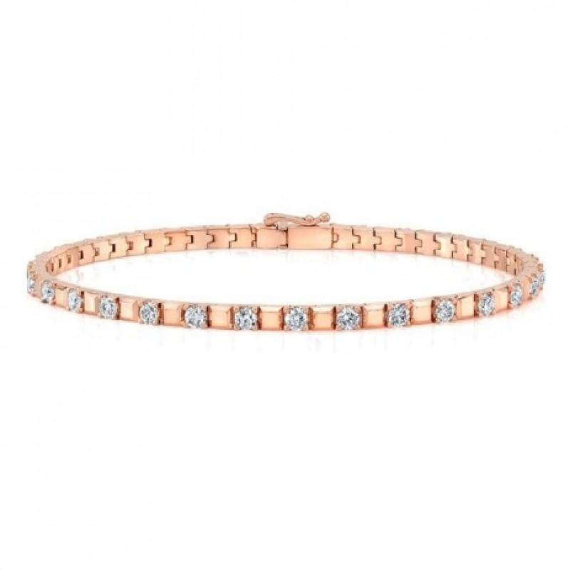 14K Rose Gold Diamond Alternating Tennis Bracelet