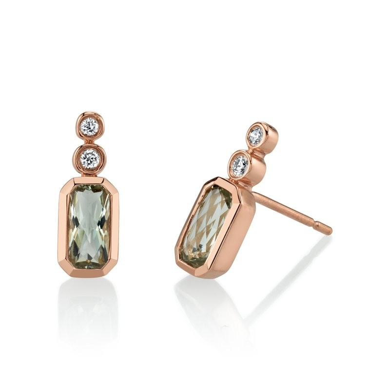 MARS Bezel Stud Earrings, 0.08 Dia, 0.97 Gr Am.