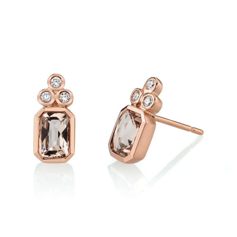 MARS Stud Earrings, 0.10 Dia, 1.71 Morganite