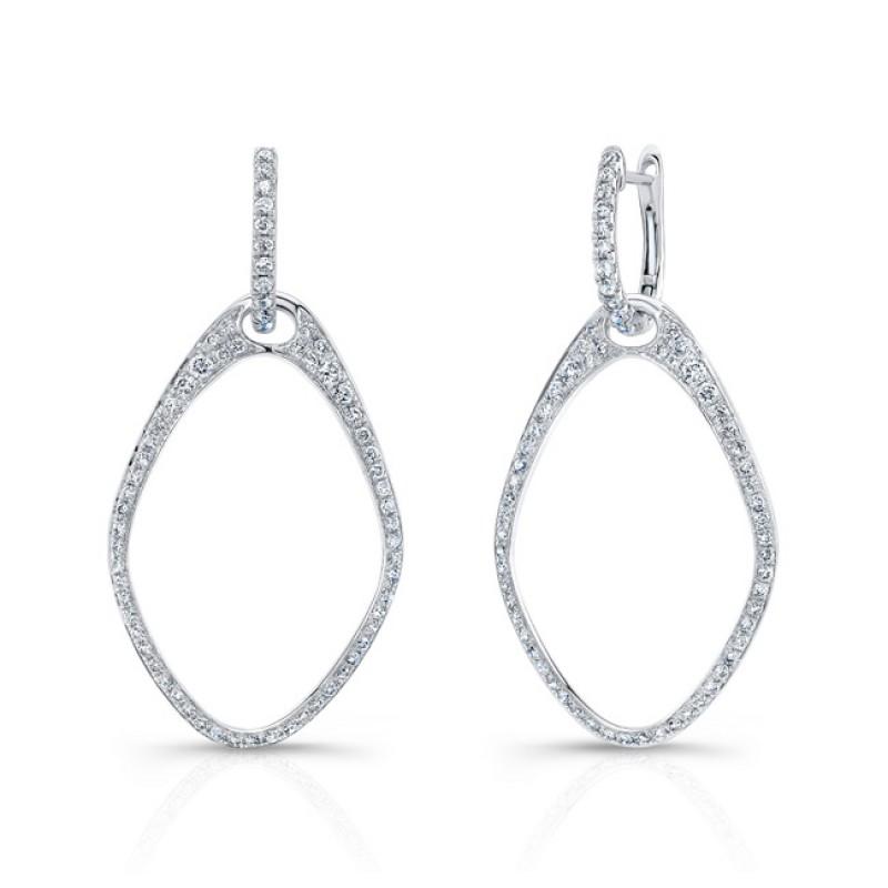 18k Teardrop Drop Diamond Hoop Earrings