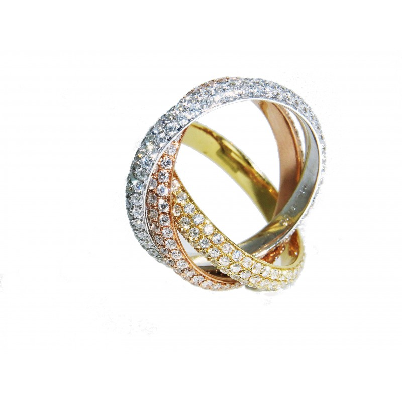 18K Three Tone Intertwined Eternity Rings