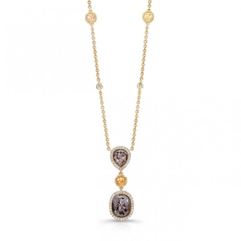18KY Rustic Diamond Necklace