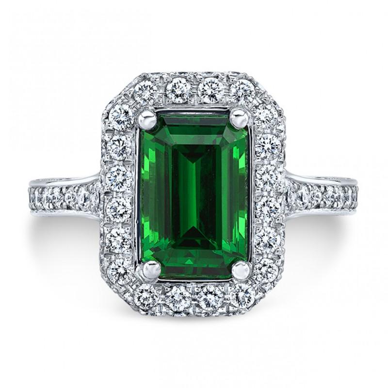 Platinum 2.20CT Emerald Cut Tsavorite Ring