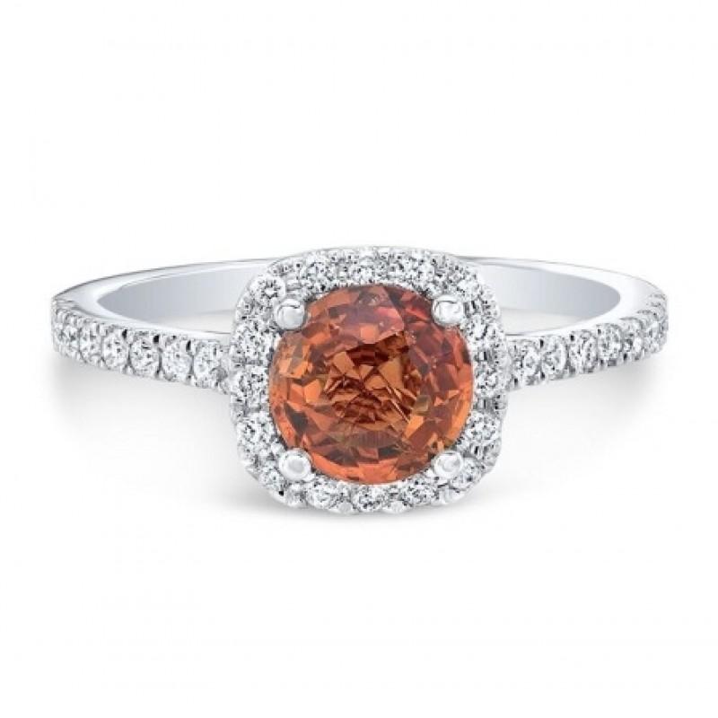 Platinum Round Orange Citrine Halo Ring