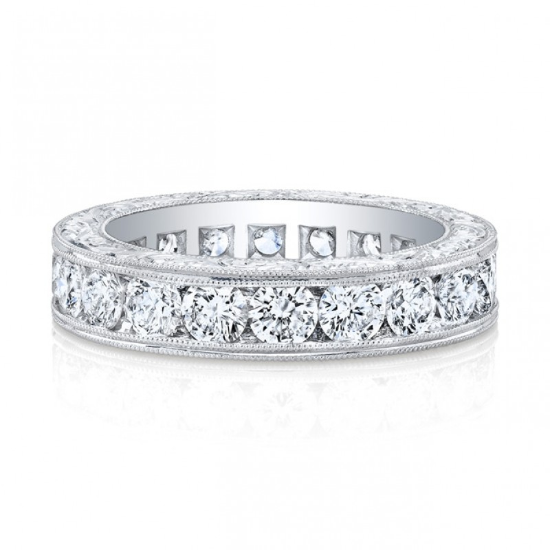 Platinum Round Cut Diamonds Channel Band