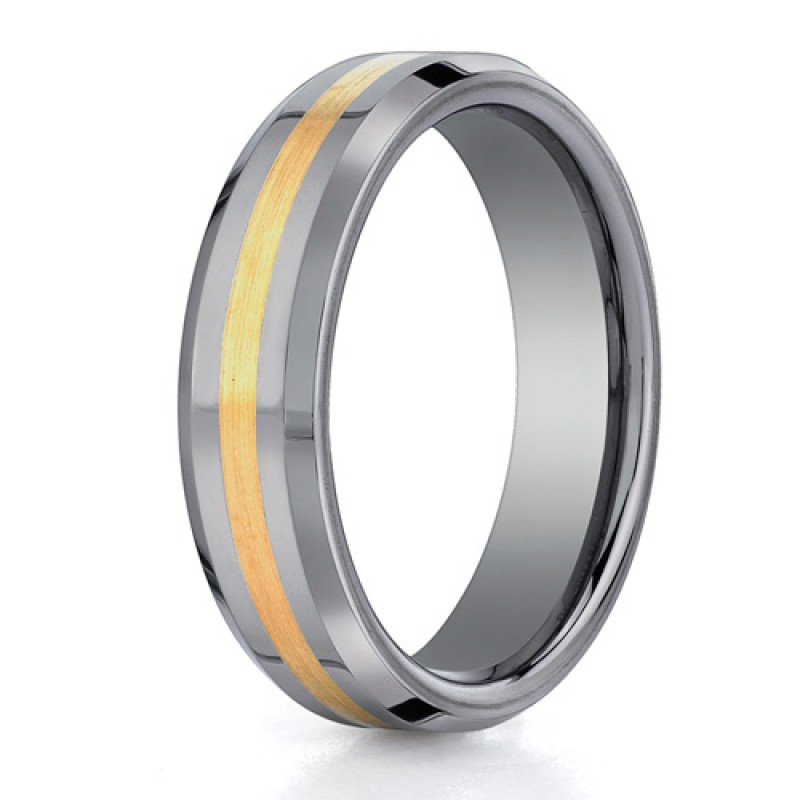 Benchmark 6mm Tungsten Carbide with 18K Yellow Gold Ring Inlay and Beveled Edges