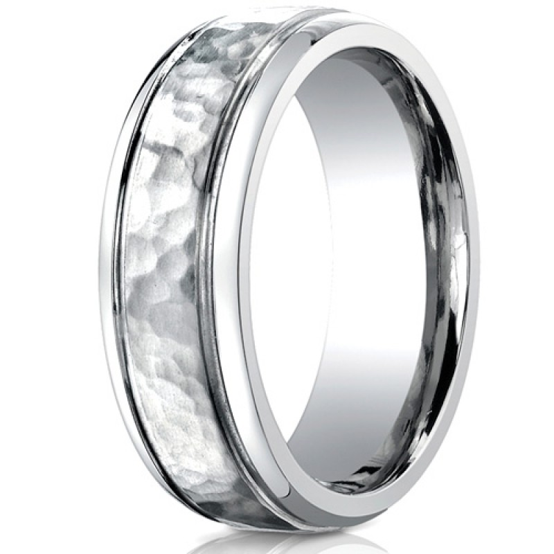 Benchmark 7mm Cobalt Chrome Ring with Hammered Center