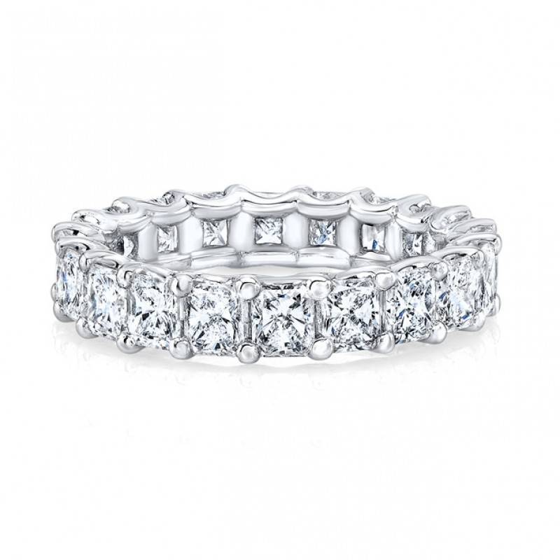 Platinum Radiant Cut Diamonds Floating Eternity Band