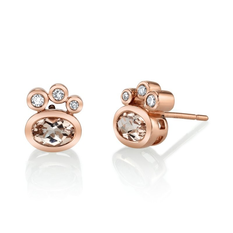 MARS 27253 Stud Earrings, 0.10 Dia, 1.38 Morganite