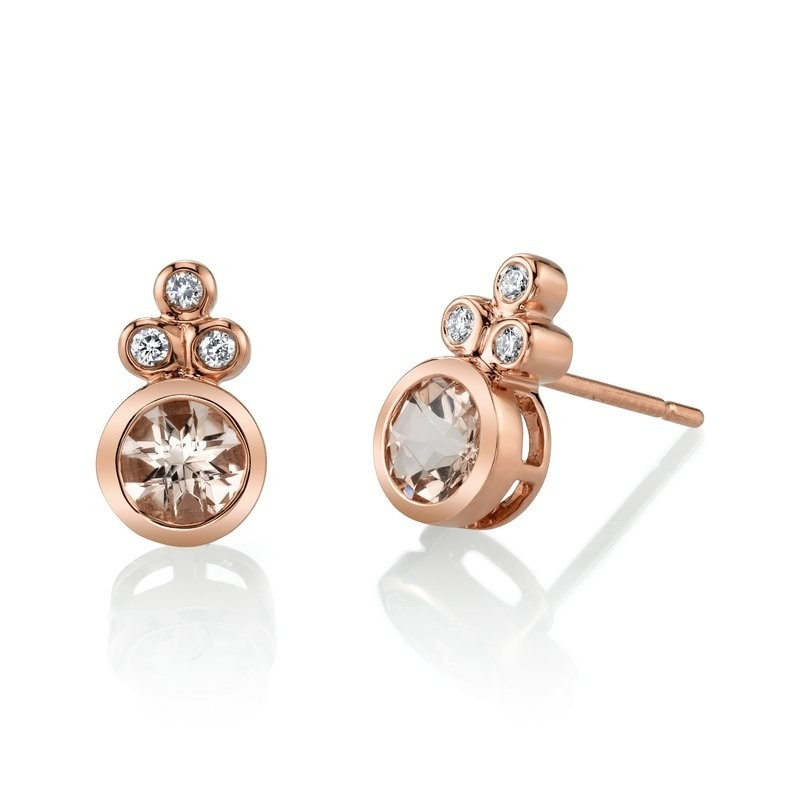 MARS Stud Earrings, 0.08 Dia, 0.81 Morganite