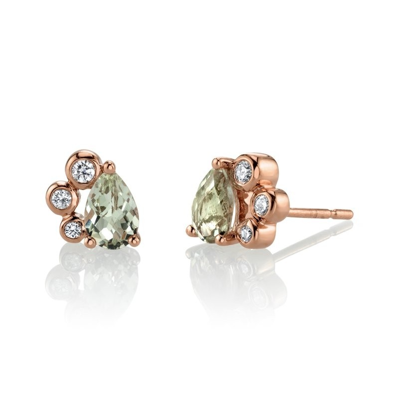 MARS Stud Earrings, 0.12 Dia, 0.77 Green Am