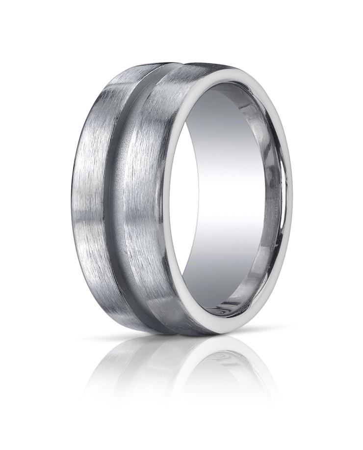 Argentium Silver 10mm Comfort-Fit Satin-Finished Design Band