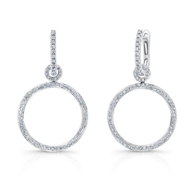 18K Round Drop Diamond Hoop Earrings