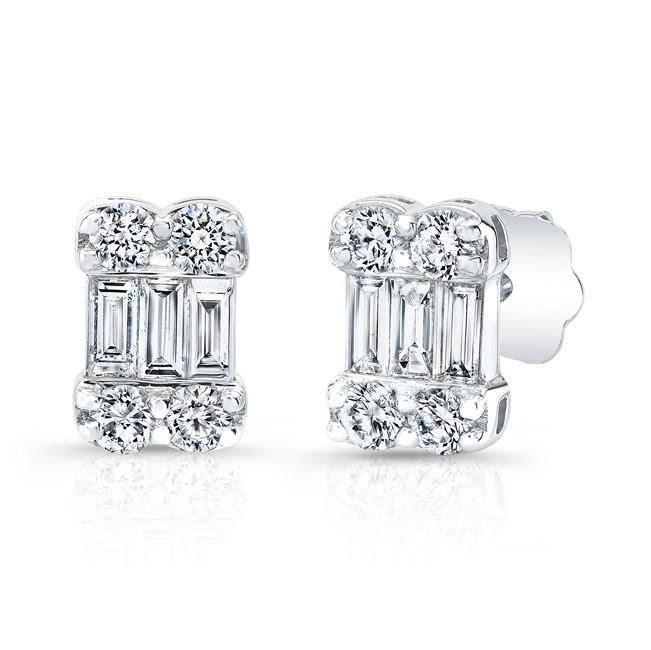 18k Round and Emerald Diamond Studs