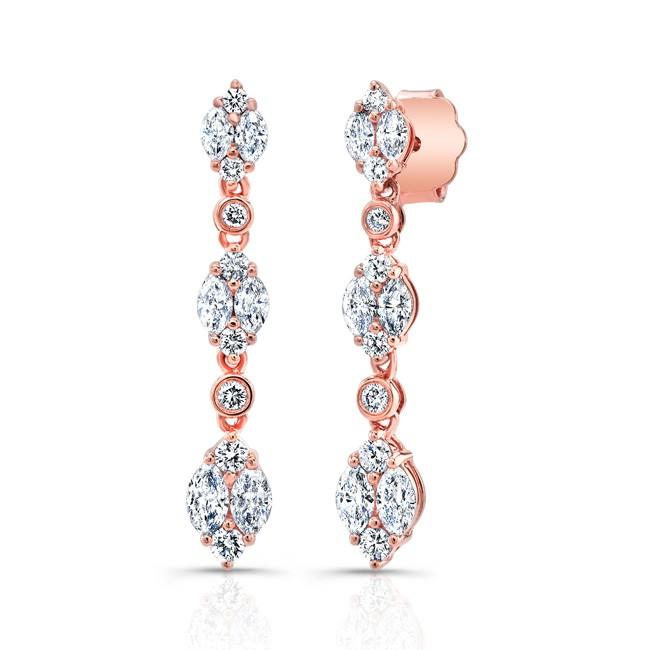 18K Round and Pear Diamond Chandelier Drop Earrings