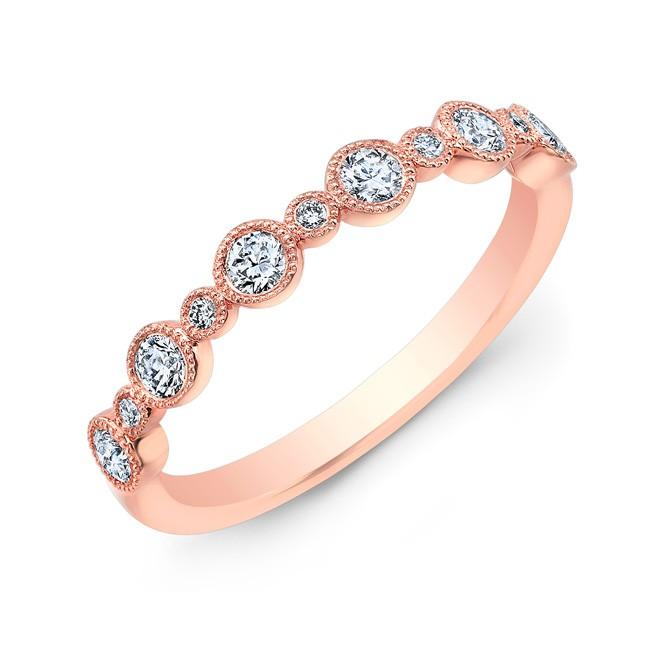 18k Alternating Round Diamond Bezel Band