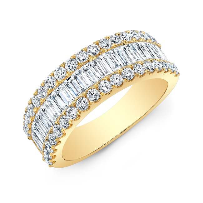 18k Baguette and Round Brilliant Diamond Band