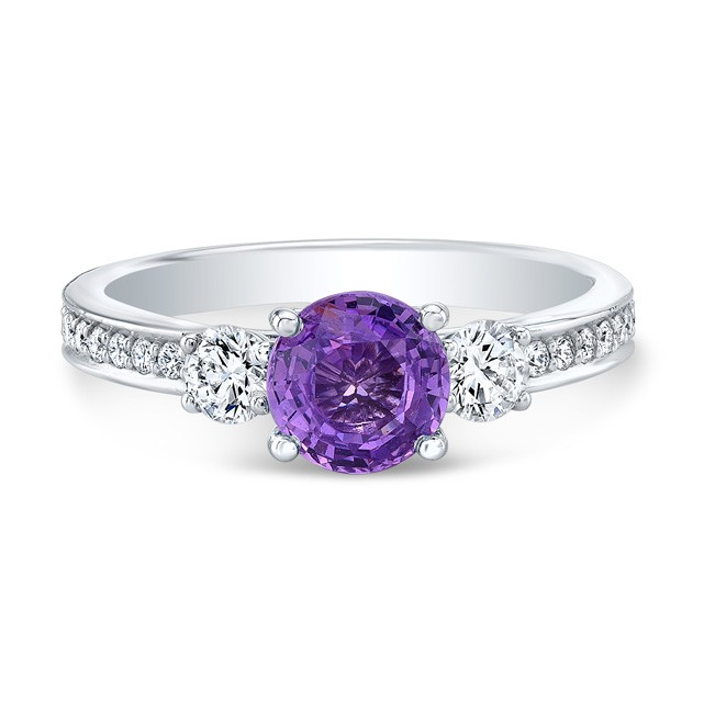 14K White Gold 1.30ct Round Cut Purple Sapphire Ring