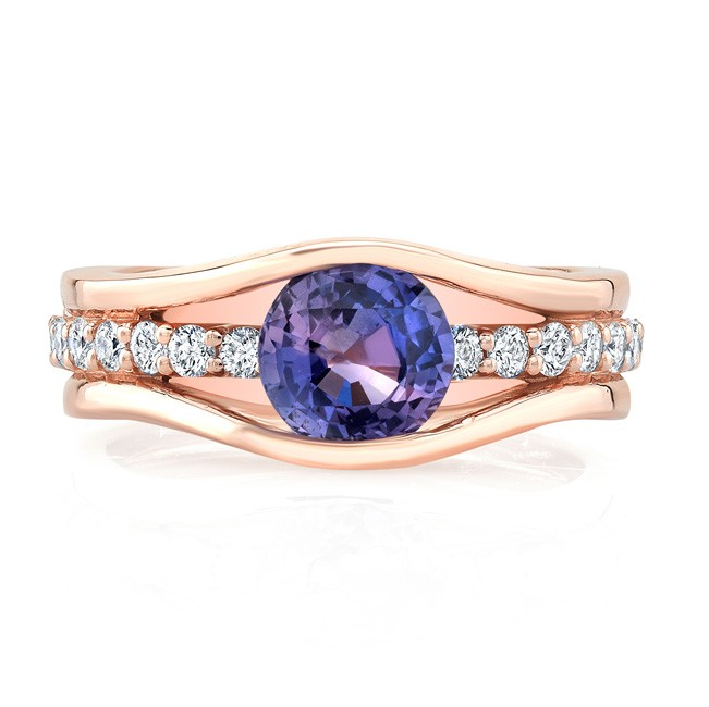 14K Rose Gold 1.52ct Round Cut Purple Sapphire Ring