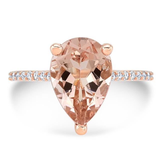 14K Rose Gold 3.06ct Pear Shaped Morganite Ring