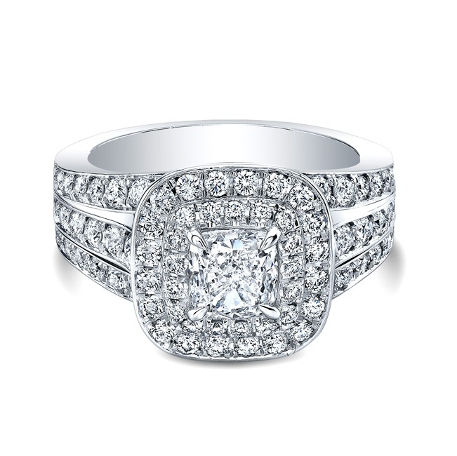 Triple Shank Double Halo Ring