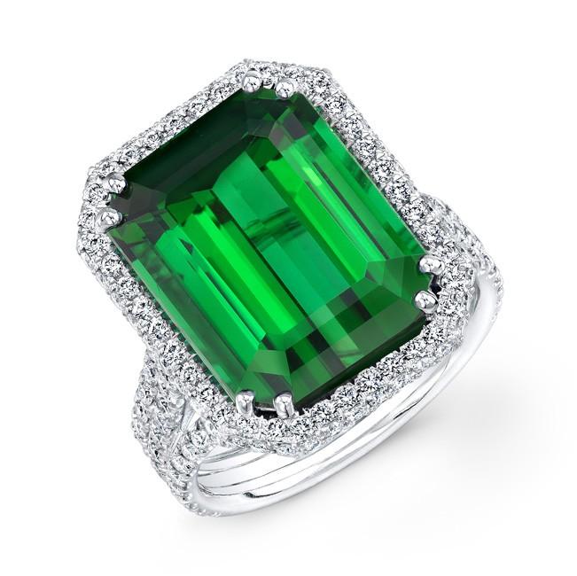 18K White Gold 10.17ct Emerald Cut Green Tourmaline-Indicolite Ring
