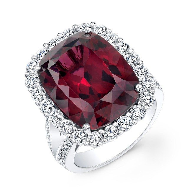 18K White Gold 16.56ct Rhodolite Ring