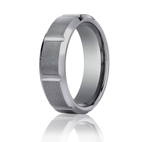 Benchmark 7mm Slotted Tungsten Carbide Ring with Polished Beveled Edges