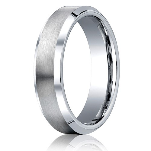 Benchmark 6mm Flat Cobalt Chrome Ring with Beveled Edges