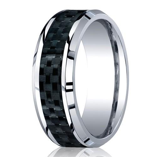 Benchmark 8mm Flat Cobalt Chrome Ring with Carbon Fiber Inlay