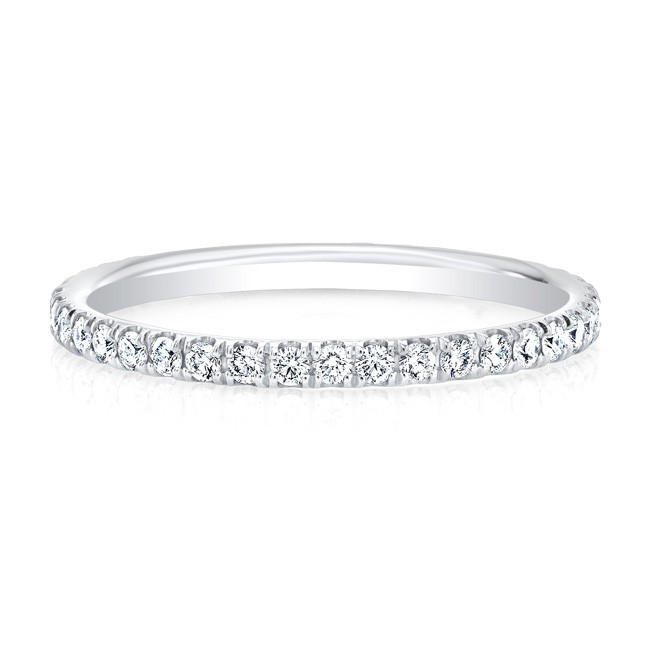 18K White Single Micropave Eternity Band