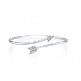 18k White Gold Arrow Diamond Bangle
