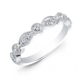 18k Stackable Alternating Round and Marquise Shape Design Band
