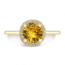 14K Yellow Gold Orange Citrine Halo Ring