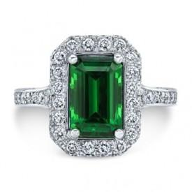 Platinum Green Tsavorite Halo Ring