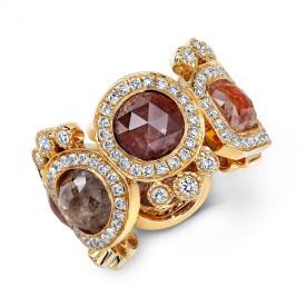 18KY Rustic Diamonds Eternity Ring