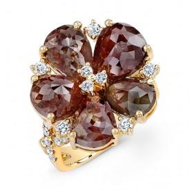 18KY Rustic Diamonds Flower Ring