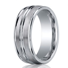 Benchmark 8mm Dual Finish Ridged Cobalt Chrome Ring