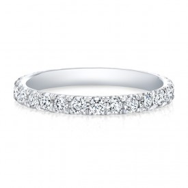14k White Round Diamonds Micropave Eternity Band