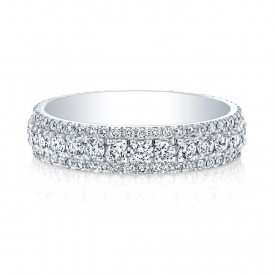 18k White Tripple Micropave Eternity Ring