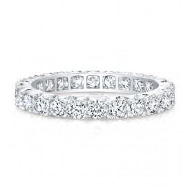 18k White Round Diamonds Micropave Eternity Band