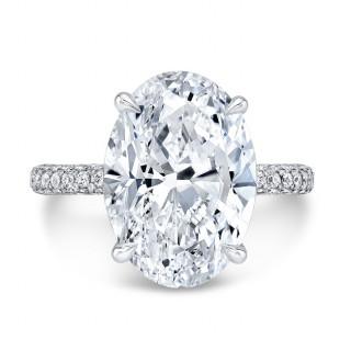 3 Row Diamond Pavé Ring with Oval Center