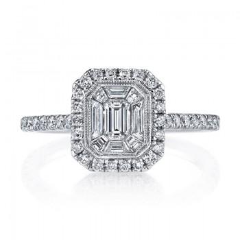 MARS Diamond Engagement Ring 0.53 Ct Rd, 0.20 Ct Em, 0.26 Ct Bg.