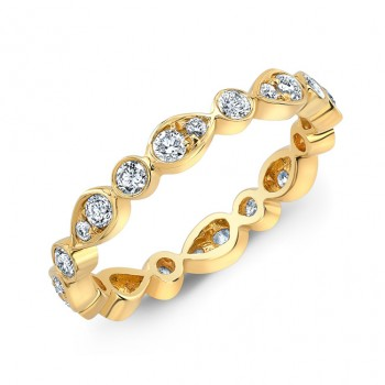 18k Stackable Alternating Round and Pear Shape Design Eternity Band
