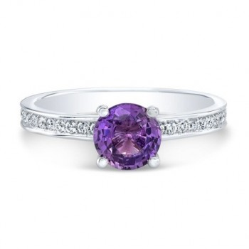 14K White Gold Round Purple Sapphire Ring