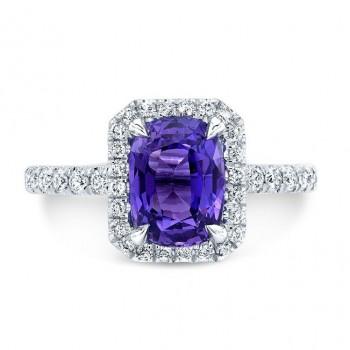 14K White Gold Blue Sapphire Halo Ring
