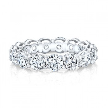 Platinum Round Cut Diamonds Basket Eternity Band