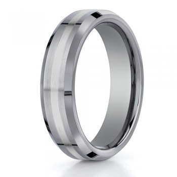 Benchmark 6mm Tungsten Carbide with 18K White Gold Ring Inlay and Beveled Edges