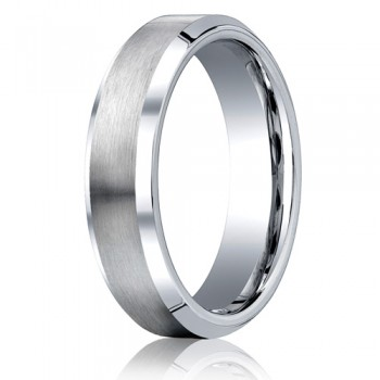 Benchmark 6mm Flat Cobalt Chrome Ring with Beveled Edges