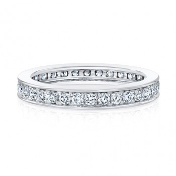 18k White Single Row Micropave Eternity Band